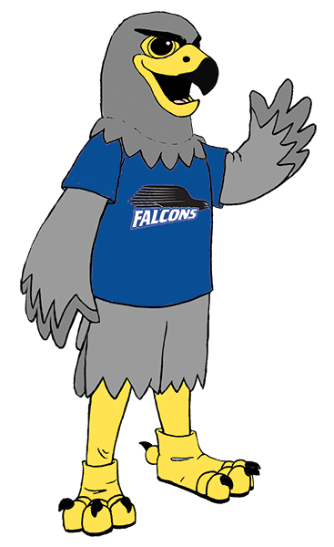 BCC's Falcon Mascot drawing