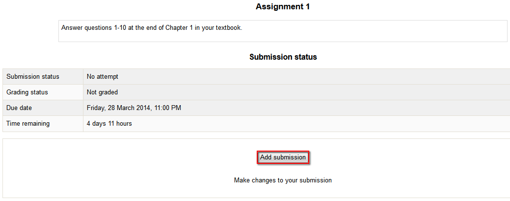 A screenshot of the Moodle Assignment screen where Add Submission button is highlighted