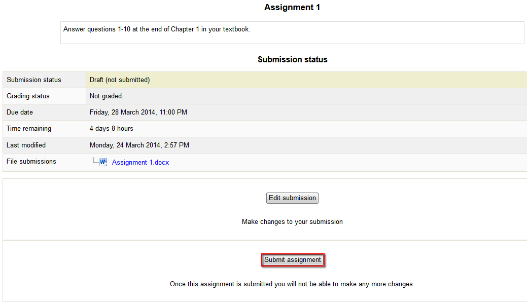 A screenshot of the Moodle Assignment screen where Submit assignment button is highlighted at the bottom of the Edit submission button