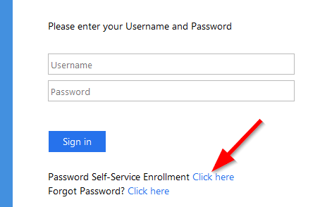 A screenshot of MyBCC login page where Password Self-Service Enrollment is found right underneath the Sign in button
